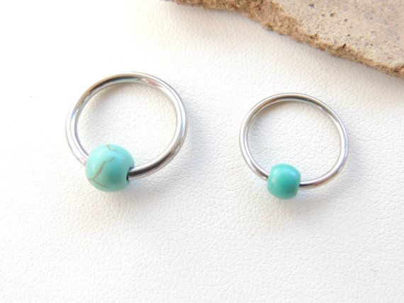 Turquoise Beaded Cartilage Hoop Earring Beaded cartilage hoop earring you choose finish and the size that fits your style best!! Piercing can