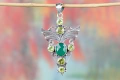 AMAZING FACETED GREEN ONYX & PERIDOT GEMSTONE 925 SILVER PENDANT $18.99 https://www.brillantejewelry.com/collections/pendants/products/handmade-faceted-green-onyx-gemstone-925-silver-pendant
