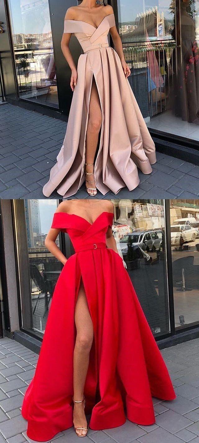 Aline off the shoulder modest side split red unique prom dresses