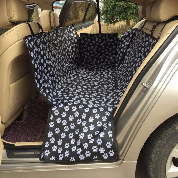 Rear Seat Folding Waterproof Oxford Fabric Paw Pattern Car Seat Cover | knittedPaws | Price: $35.45 + FREE Shipping     #dog #puppy #car #carseat #waterproof #seatcover
