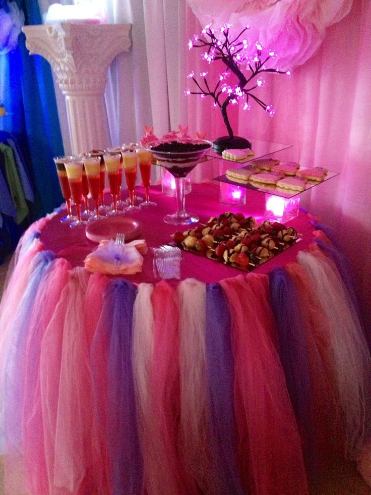 table skirt, dessert table decor, light up tree, pink tree Also on
