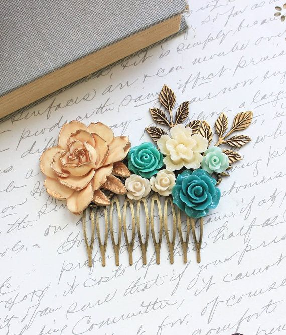 Teal Bridal Hair Comb Country Wedding Romantic by apocketofposies