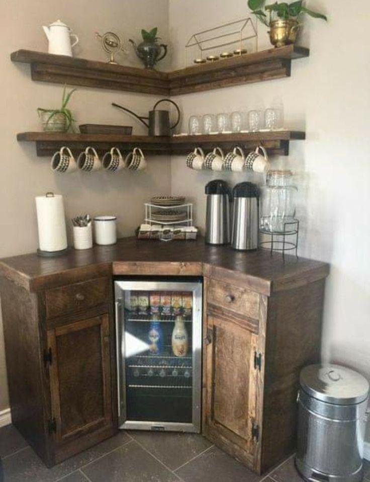 Coffee Bars In Kitchen, Coffee Bar Home, Home Coffee Stations, New Kitchen, Kitchen Decor, Coffee Bar Ideas, Coffee Bar Station, Coffe Bar, Wine And Coffee Bar