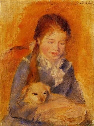 Girl with a Dog - Pierre-Auguste Renoir - Impressionism, 1875