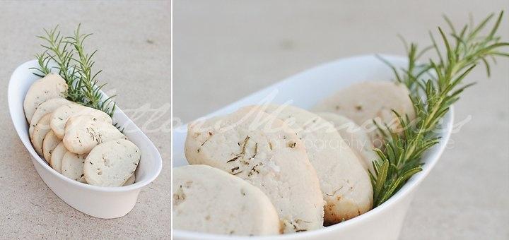 Lemon rosemary and sea salt short bread cookies.