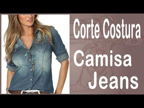 Curso Corte e Costura passo-a-passo Camisa Jeans - Super Fácil - YouTube