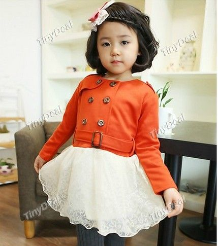 http://www.tinydeal.com/es/lace-patchwork-cotton-princess-dresses-overcoat-for-kids-girls-p-99835.html:Lace Patchwork Cotton Princess #Dresses Overcoat for Kids #Girls