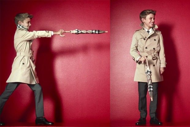 Romeo Beckham made his debut as a model in a campaign for Burberry