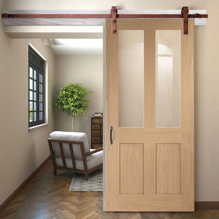 Thruslide Traditional Malton Shaker Oak Sliding Door - Clear Glass - Lifestyle Image.    #slidingdoor #barnddoor