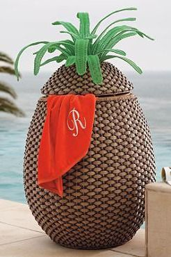 Provide the ultimate in hospitality with our all-weather Pineapple Towel Hamper.: Pineapples, Pools Area, Pineapple Decor, Pineapple Towels, Fun Pineapple, Beaches Houses, Pools Towels, Beaches Towels, Towels Hampers