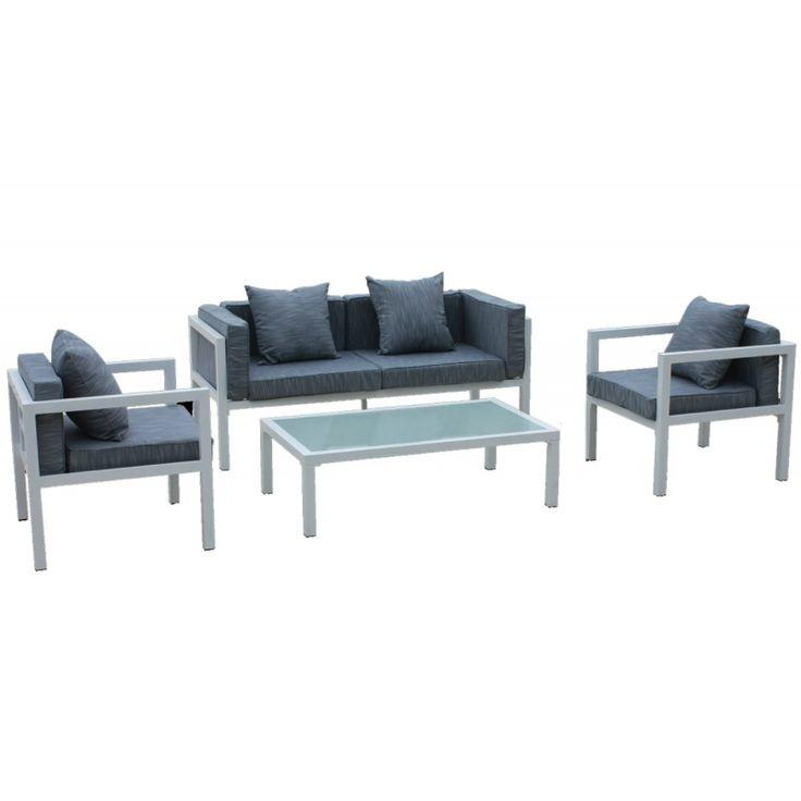 Matiz garden seating group set 4pcs aluminum white pillow grey Ε6787,1