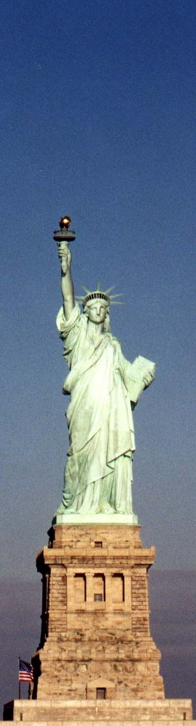 """""""Liberty Enlightening the World"""" better known as """"The Statue of Liberty"""" is a colossal neoclassical sculpture on Liberty Island in New York Harbor, designed by Frédéric Bartholdi and dedicated on October 28, 1886. The statue, a gift to the United States from the people of France"""