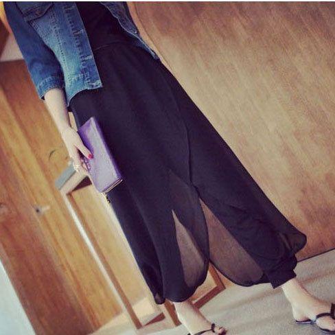 2016 женщины свободного покроя черные брюки дамы летом стиль хлопок шифон оборками танец брюки женские большой размер эластичные узкие брюкикупить в магазине Thematic ElementsнаAliExpress