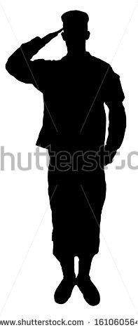 Saluting army soldier's  silhouette isolated on white (Memorial day, Veteran's day, 4th of july, Independence day)
