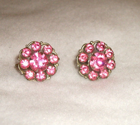 Vintage earrings with Pink Rhinestones by picsoflive on Etsy, $5.00