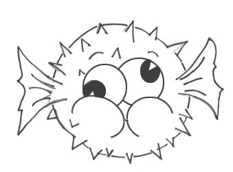 how to draw a cartoon blowfish step by step drawing tutorial for kids - Kid Cartoon Drawing