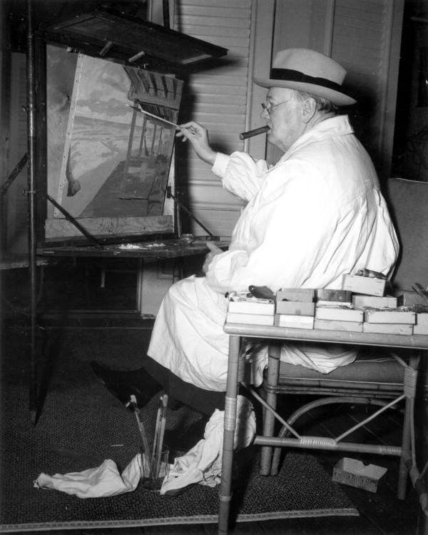 Winston Churchill painting at the Surf Club - Miami Beach, Florida /// Credit this photo: State Archives of Florida, Florida Memory, http://floridamemory.com/items/show/33325