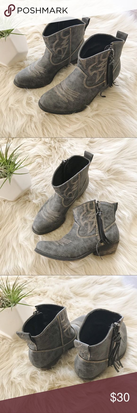 Big Buddha • Gray Distressed Ankle Cowboy Bootie Excellent condition. Fringe on outside zippers. Big Buddha Shoes Ankle Boots & Booties