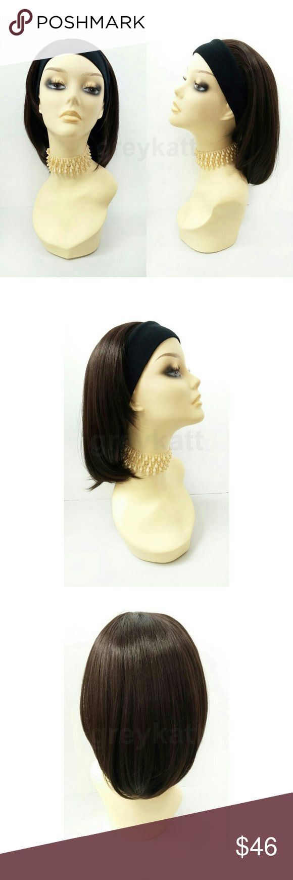 """Brown heat resistant headband wig This stylish wig features short and straight brown locks and a sewn-in black headband. Made with heat-resistant synthetic fibers which prevent loss of style even after washing and can be styled with heating tools such as curling irons and heated rollers.  Color: Dark Brown (4) Length: 14"""" inches Circumference: Default at 21"""" with adjustable cap (max 22"""") Materials: Premium Heat Resistant Synthetic Fibers  Wig prices are firm. Accessories Hair Accessories"""