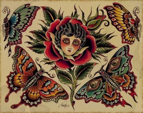 57 best traditional tattoo flash butterfly images on