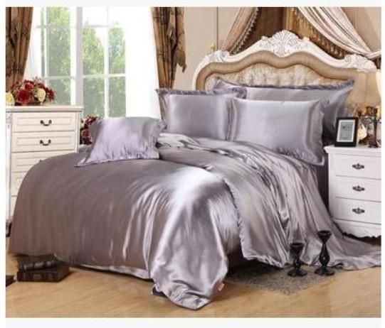 Silver Bedding sets super king size queen full twin grey duvet cover fitted silk satin bed sheet double bedspreads doona 6pcs
