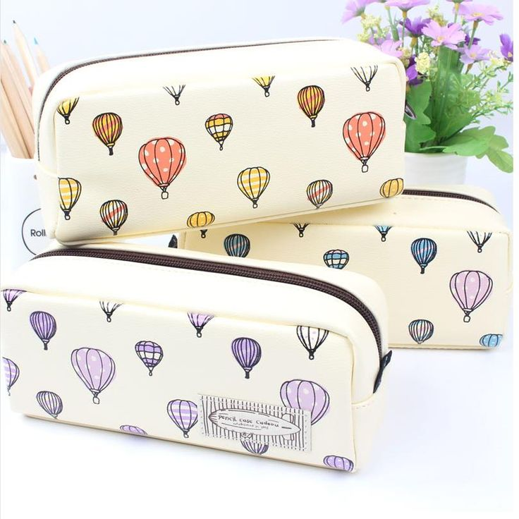 1PCS High Capacity leather cut kawaii pencil box school pencil bag for girls hot air balloon pencil case stationery 04869