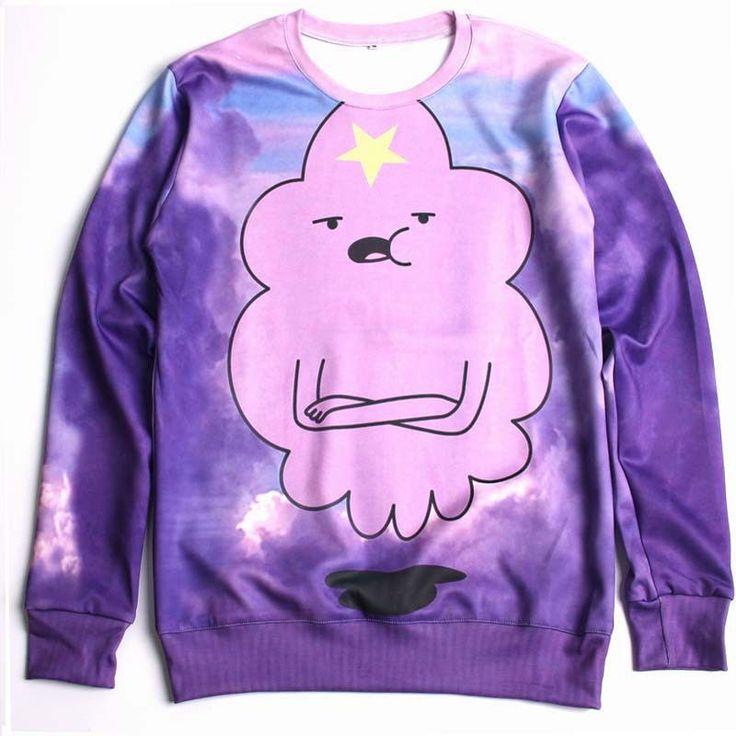 2016 New Lumpy Space Princess Sweatshirt Purple Cloud Beautiful Sweats Lady/male Casual Hoodies Adventure Time Clothes