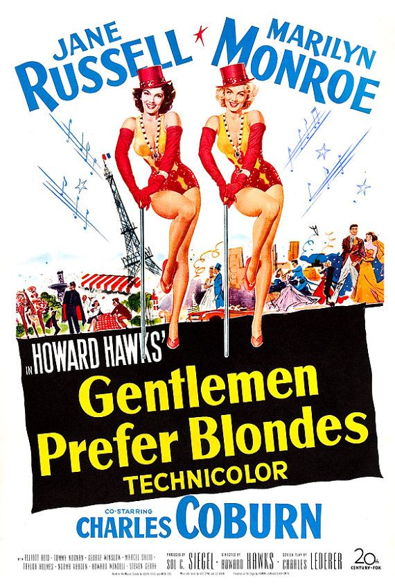 Marilyn Monroe - Gentlemen Prefer Blondes - Musical Comedy Movie Poster Print  13x19 - Vintage Movie Poster - Jane Russell