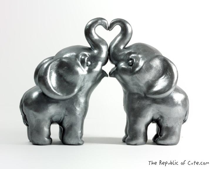 Silver Elephant Wedding Cake Toppers - Modern Indian Wedding Decor - Original Sculptures Handmade in Polymer Clay.