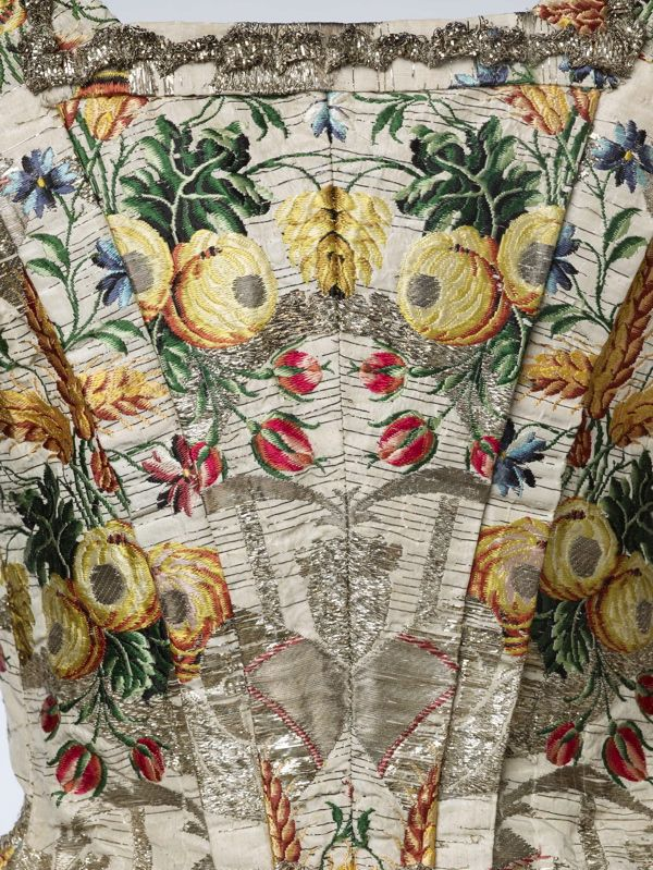 Detail of Ann Fanshawe's dress of Spitalfields silk which can be seen in the Museum of London