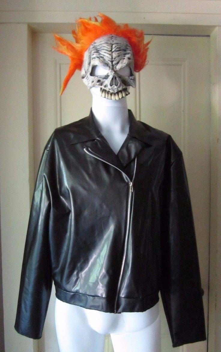 Halloween Costume Marvel Ghost Rider Mask & Faux Leather Jacket ...