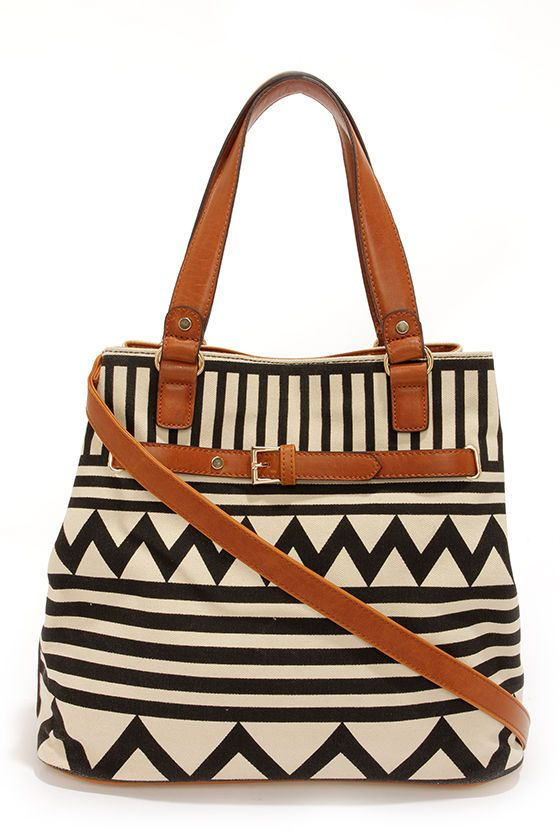 black and cream print handbag