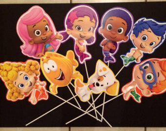 Bubble Guppies Cake Topper Large 3D Set by claycutiesbymelissa