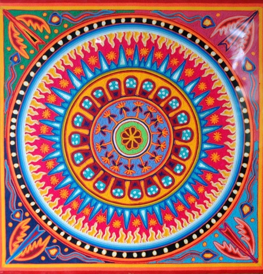 Jose Benitez Sanchez Él es el mejor aprobado y prolífico de todo el Artista Huichol. Su estilo clásico ha sido expuesto en los museos más finos en el mundo entero. Él nacio en 1938 en el pueblo Huichol de Wautua y se entrenó como un Chamán. Su trabajo muestra el mundo físico que actúa recíprocamente con el espiritual en las líneas de energía que los une . Cada pintura está llena imágenes poderosas. Él pasó en julio de 2009.