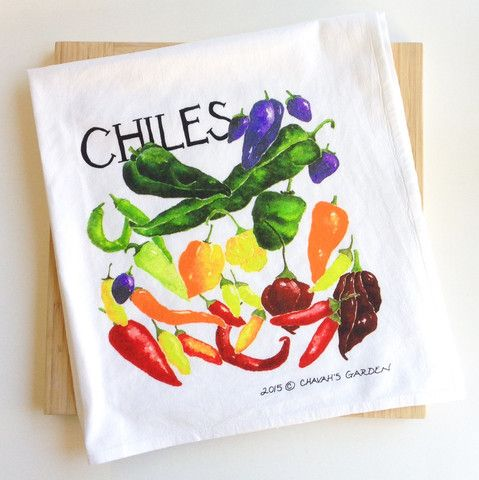 Tea towel for the chile lover: jalapeño, habanero, poblano, anaheim, ghost chile (bhut jolokia), and scotch bonnet, along with a few other of their cousins tucked in and around.