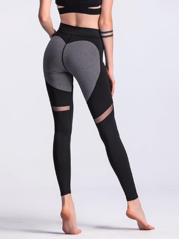 2322f6726ab3a Sheer Mesh Panel Colorblock Legging -SheIn(Sheinside) | Active Wear ...