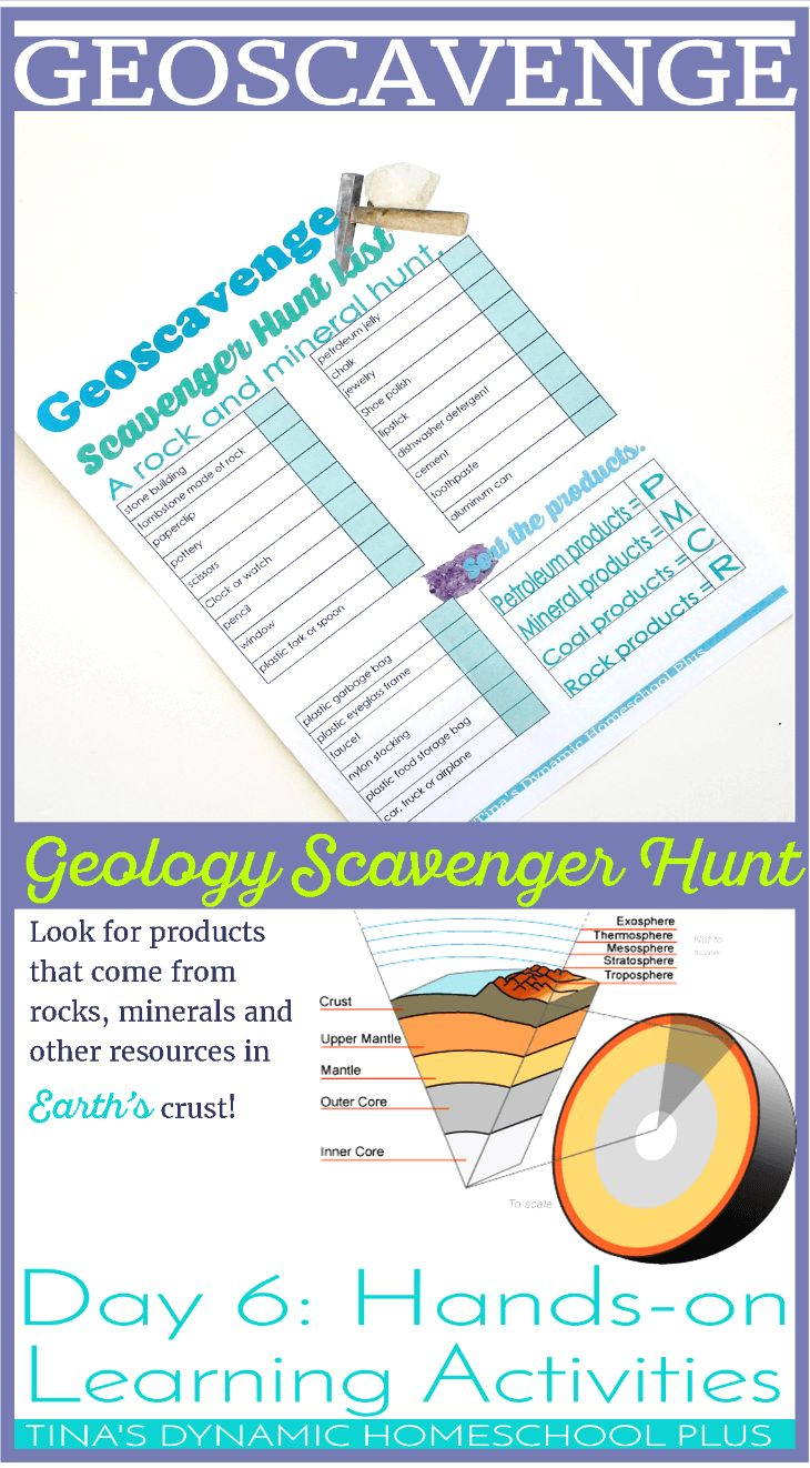 Geoscavenge Hunt. Grab this free printable and get the kids outdoors while learning about products made by rocks and minerals. Click here to grab the free printable over @ Tina's Dynamic Homeschool Plus