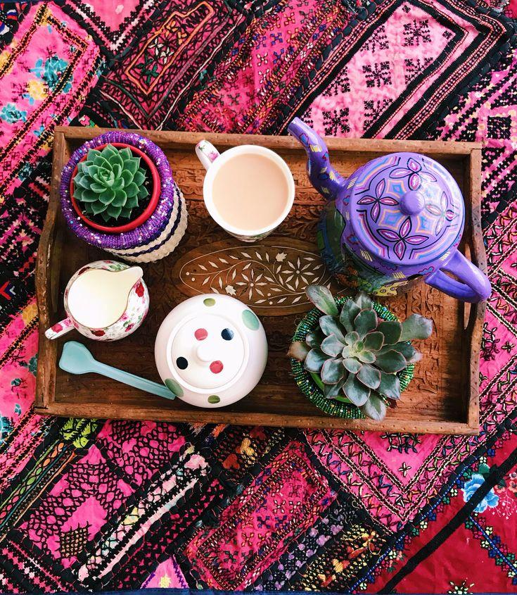 Tea time in the house of Furbelow . Doing it right today  tea pot and all  #bohointeriors #gypseydecor #bohoglam #boho #bohemianstyle  #bohostyle #beautifullyboho #ihavethisthingwithcolour #ihavethisthingwithtextiles #gypseyset #makeityours #inmydomain #bohochic #electichome #eclecticdecor #maximalism #myhomevibe #planteriordesign #myhyggehome