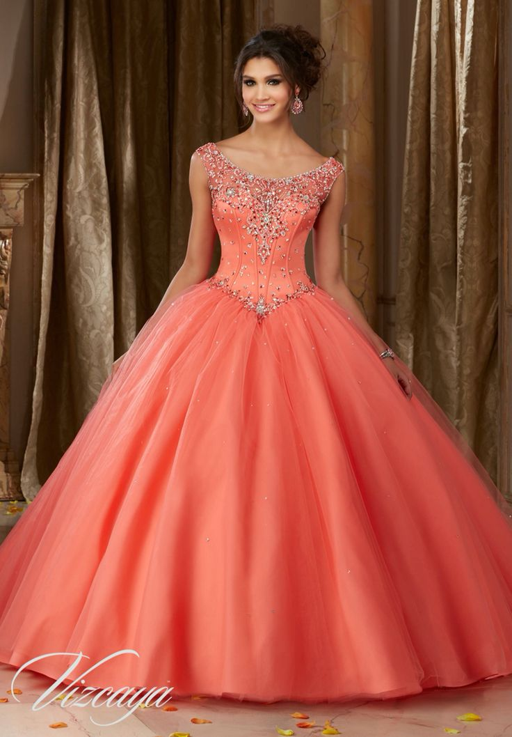 Morilee Vizcaya Quinceanera Dress 89108 JEWELED BEADED SATIN BODICE ON A TULLE BALL GOWN  Matching Stole. Available in Mint Leaf, Coral, Champagne, White (Color of this dress): Coral