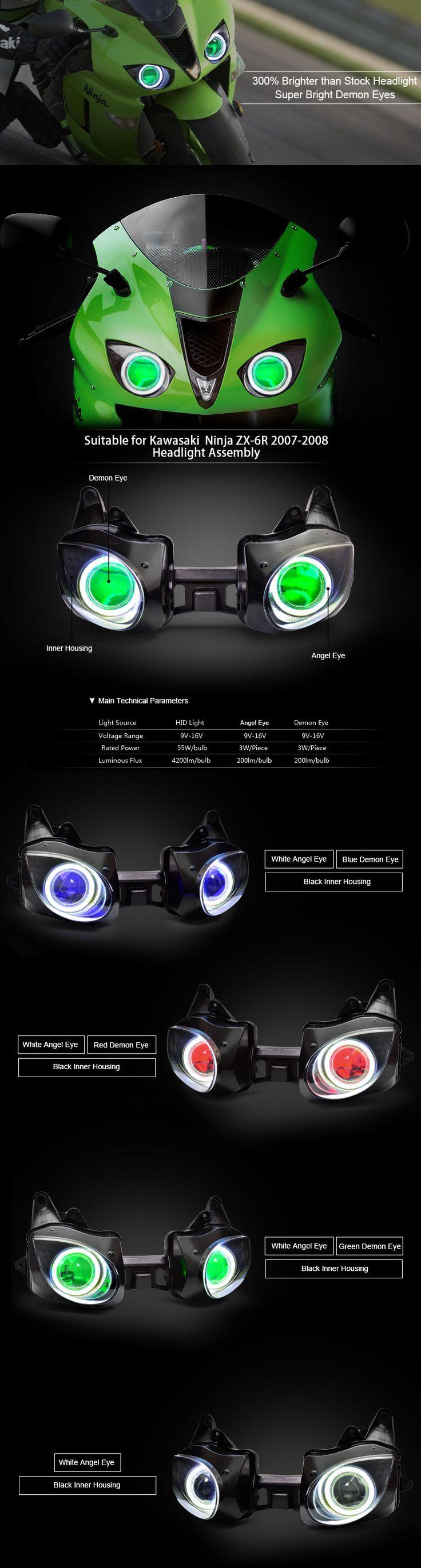Angel eye HID Projector Headlight Assembly Kawasaki Ninja ZX6R 2007-2008
