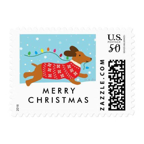 All Dressed up Christmas Fun Dachshund Dog Santa Hat Christmas card glitter
