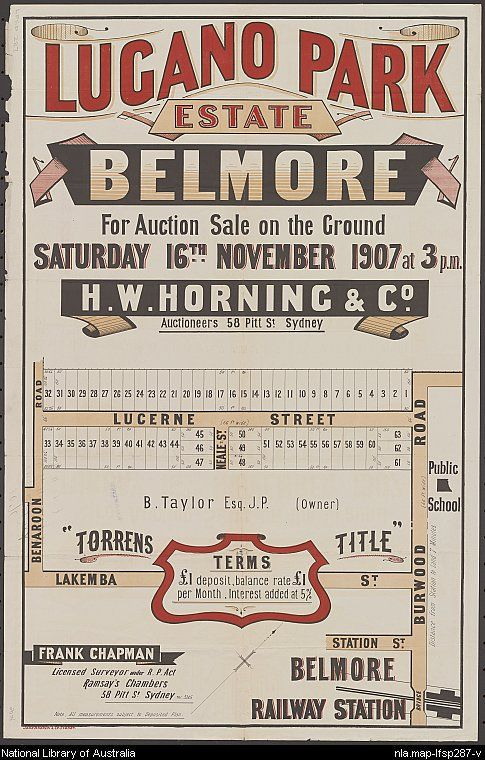 Lugano Park Estate, Belmore. Sales plan for land in the suburb of Belmore in Sydney bordered by Benaroon Road, Lakemba Street, Lucerne Street and Burwood Road. Courtesy National Library of Australia.
