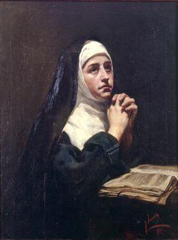 Joaquín Sorolla Bastida (1863-1923). Monja en oración. 1883. Óleo sobre lienzo. Colección Bancaja, Spain.