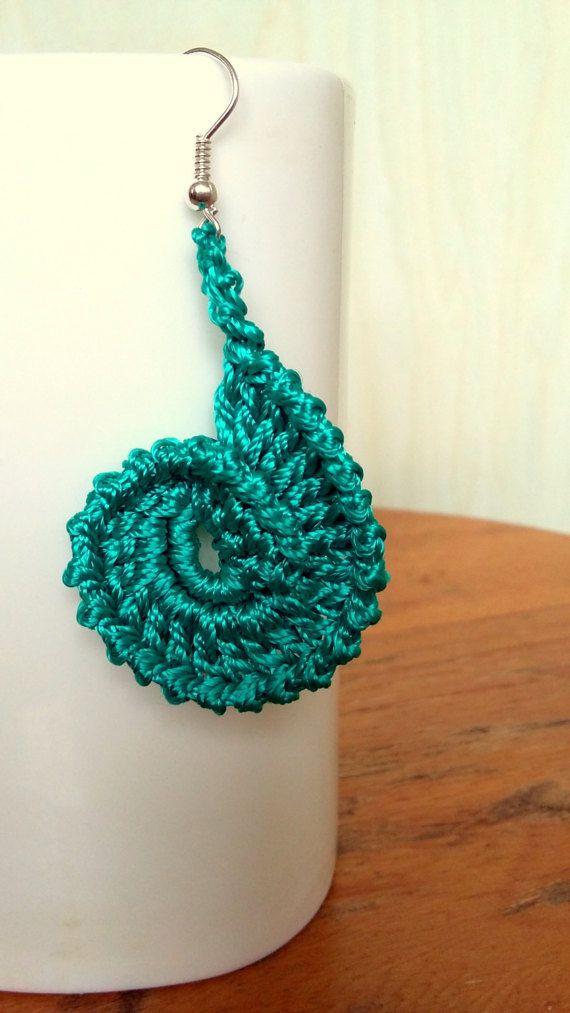 Pendientes de ganchillo Teal Color Aqua pendientes Pendientes largos Elegante pendientes, Eexquisite pendientes Pendientes de estilo góticos Pendientes de las mujeres Pendientes de regalo Diseño original - Knitte Pendientes de crochet hermoso de hilos de poliamida color aqua verde azulado.