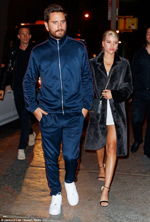 Date night: Sofia Richie, 19, played the role of supportive girlfriend as she accompanied her much older boyfriend Scott Disick, 34, to a filming for Complex Sneaker Shopping Series in New York City on Saturday