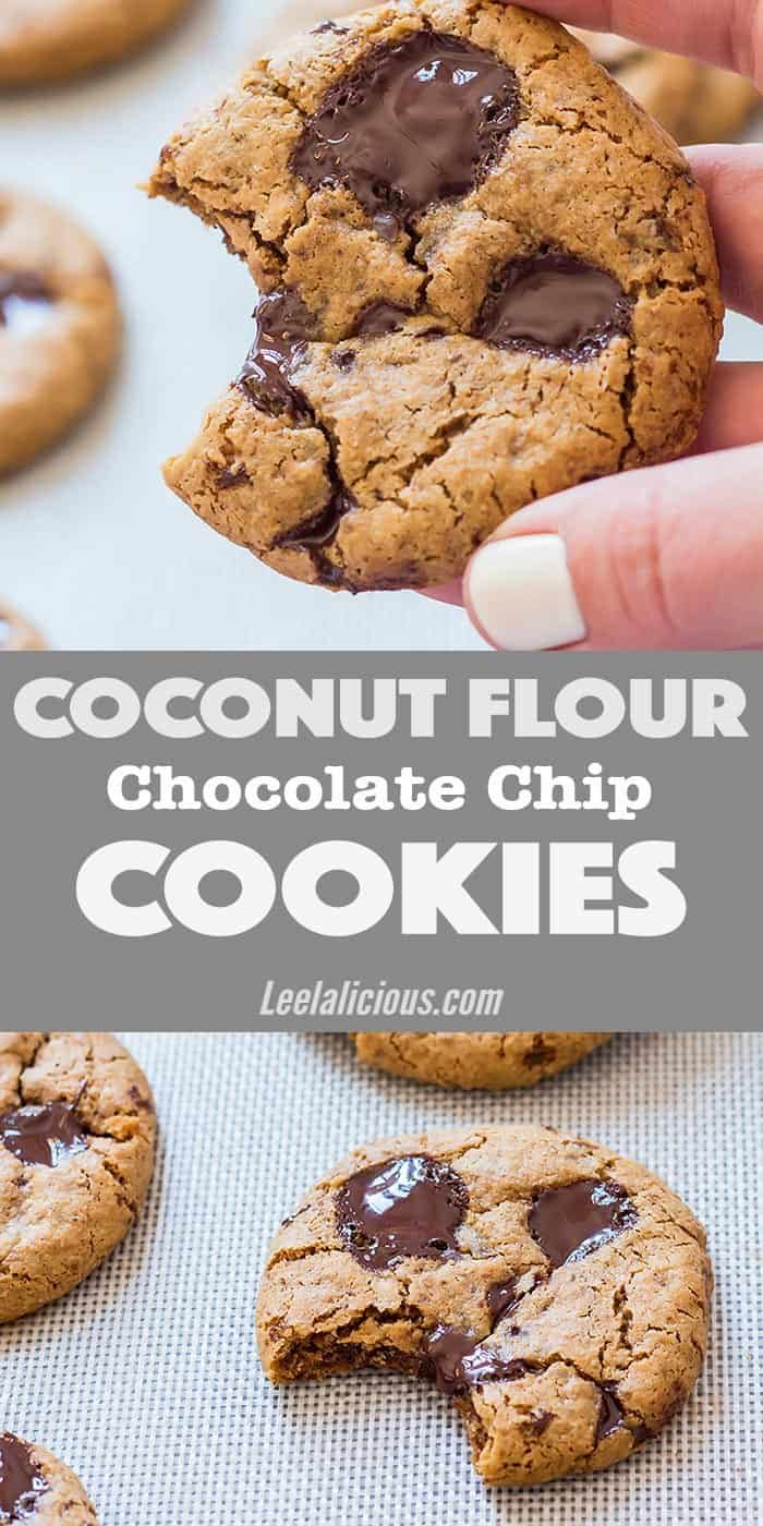 These amazing Coconut Flour Cookies are exactly what you expect from a great cookie: crisp edges, chewy centers and loaded with chocolate. But these are actually gluten free, clean eating, paleo, with even a vegan, low carb/keto option. #coconutflour #cookies #chocolatechipcookie #glutenfree Recipe   Desserts   Healthy   Peanut Butter   Nut Butter   Allergy Friendly   Sugar Free   Glutenfree   Eggless   No Egg   Best   Simple   Chewy   Moist   Crispy   SugarlessNicole MacLeod