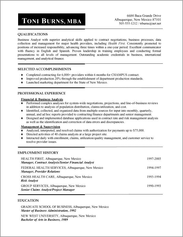 resume wording samples