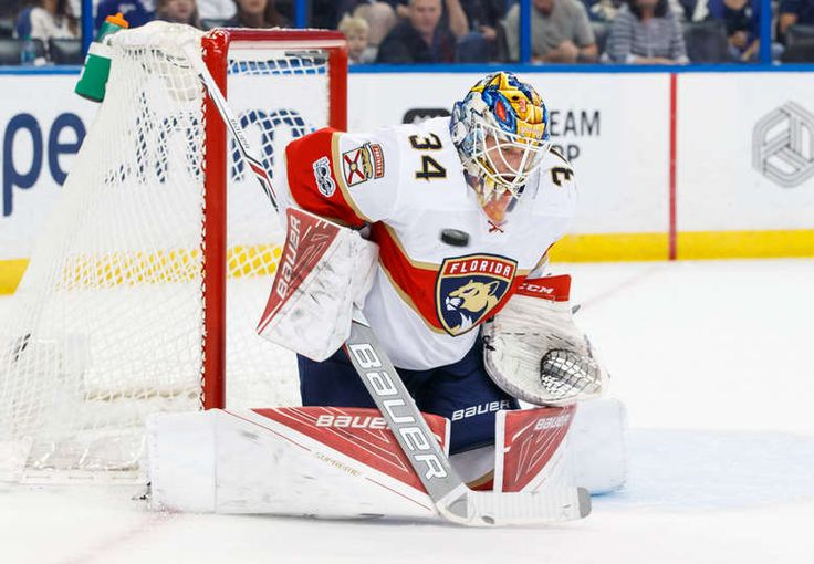 TAMPA, FL - MARCH 11: Goalie James Reimer #34 of the Florida Panthers makes a save against the Tampa Bay Lightning during the first period at Amalie Arena on March 11, 2017 in Tampa, Florida. (Photo by Scott Audette/NHLI via Getty Images)