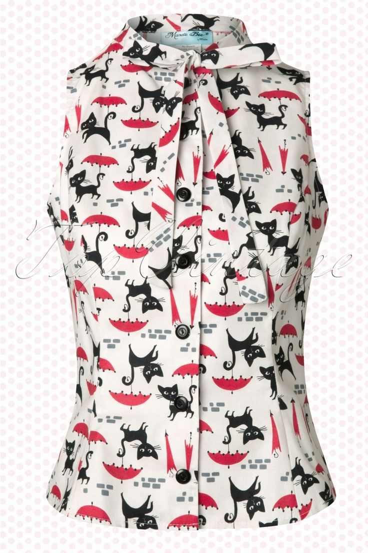 Heart of Haute - 50s Ella Bow Blouse with Raining Cats