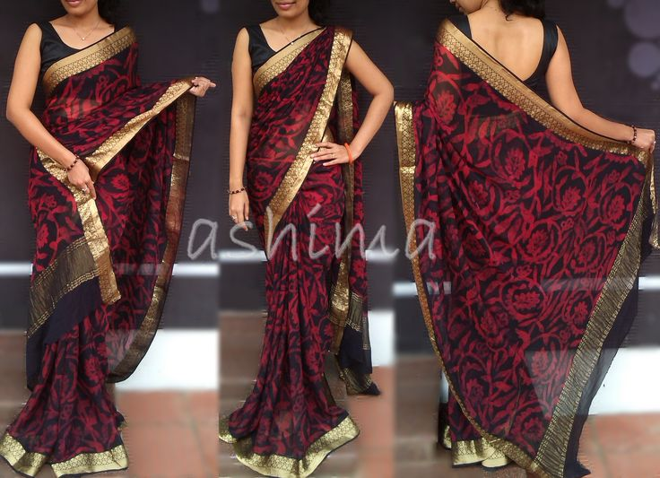 Code-1311152- Printed Banarasi Georgette Saree With Woven Golden Border & Pallu -Price INR:7560/-